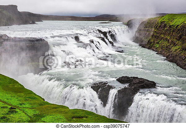Beautiful Gullfoss waterfall in Iceland - csp39075747