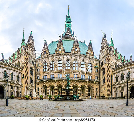Beautiful Hamburg town hall with Hygieia fountain from courtyard, Germany - csp32281473
