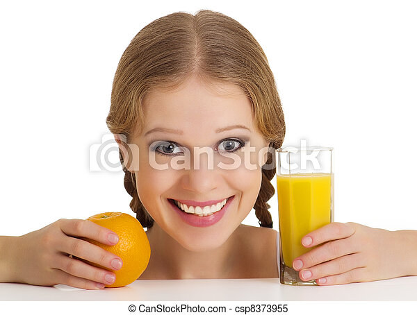 beautiful happy cheerful girl with orange juice - csp8373955