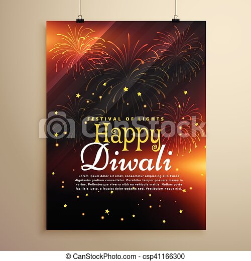 beautiful happy diwali flyer template with fireworks display csp41166300