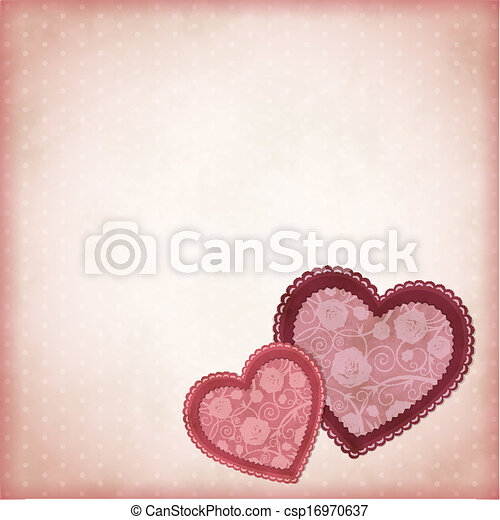 Beautiful hearts on a vintage background - csp16970637