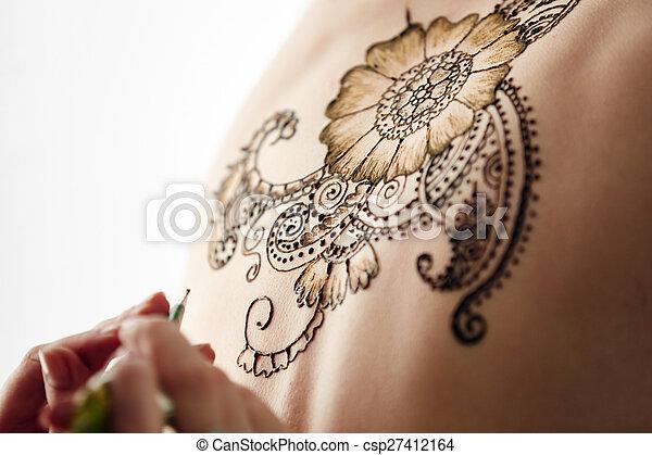 Mehndi Beautiful Henna Patterns In Process Of Applying On Model S Back