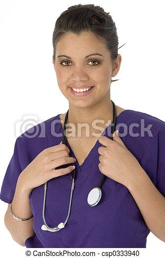 Beautiful Hispanic Nurse - csp0333940