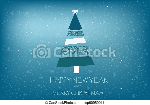 beautiful holiday card vector with fir tree art stripes on a blue background - csp60959011