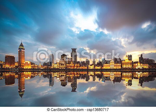 beautiful huangpu river at dusk - csp13680717