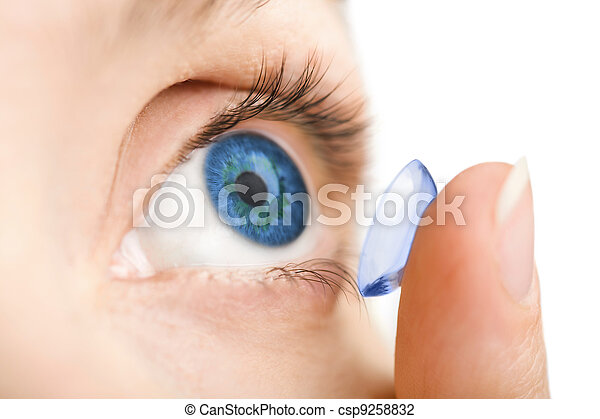 beautiful human eye and contact lens isolated - csp9258832