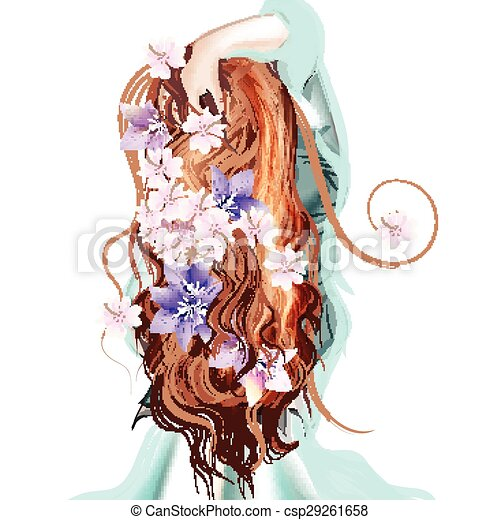 Beautiful Illustration With Long Hared Girl Standing Back Flowers In Her Hair