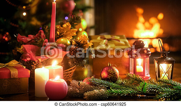 Beautiful image for winter celebrations with traditional Christmas decoration on wooden table - csp60641925