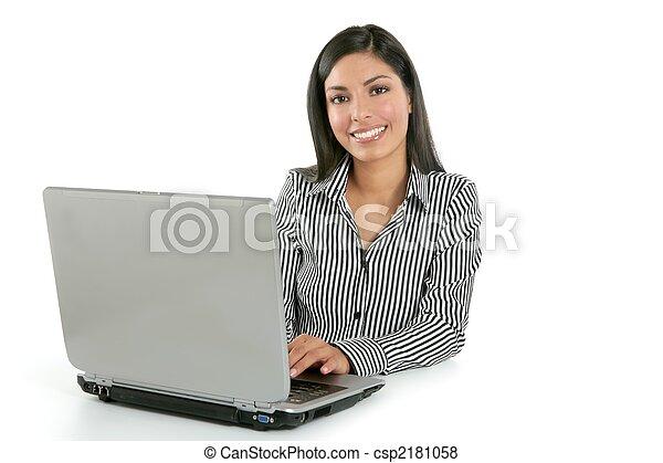 Beautiful indian brunette businesswoman laptop - csp2181058