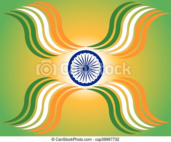 Beautiful Indian Flag Theme Background Design For Indian