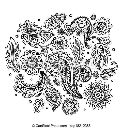 Beautiful Indian floral ornament - csp18212385
