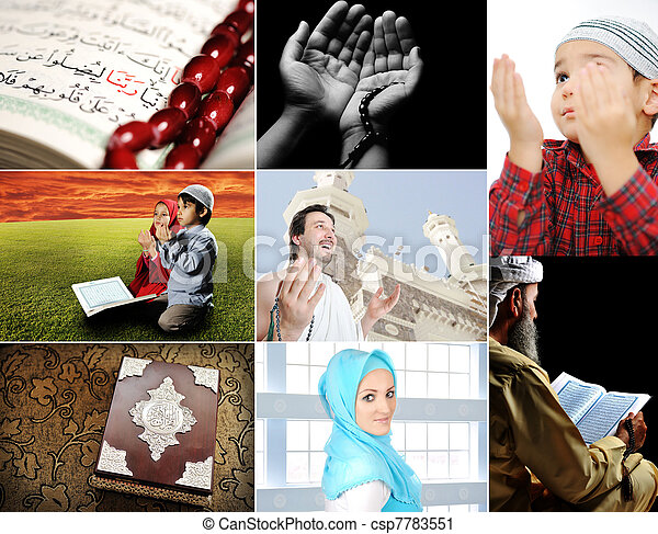 Beautiful ISLAM collection, collage of several photos, Muslim people and their activities  - csp7783551