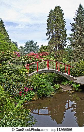 Beautiful Japanese Garden Landscape with Red Bridge - csp14265956