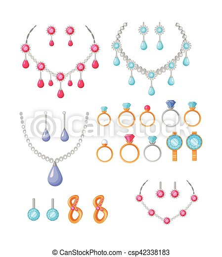 Beautiful Jewelry Accessories Icons Set - csp42338183