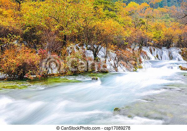 beautiful jiuzhaigou in autumn - csp17089278