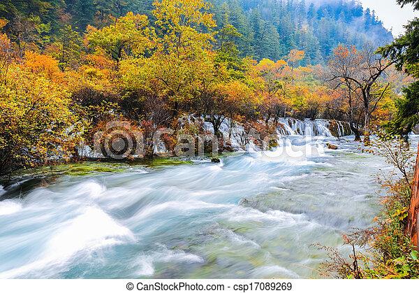 beautiful jiuzhaigou in autumn - csp17089269