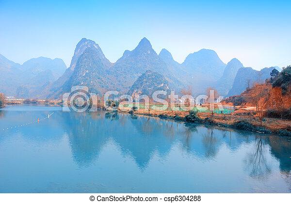 Beautiful Karst mountain landscape in Yangshuo Guilin, China   - csp6304288