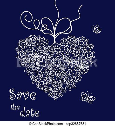 Beautiful lacy hanging heart - csp32857681