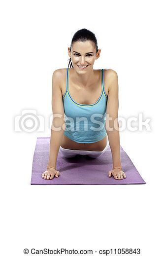 beautiful lady practicing yoga exercise - csp11058843