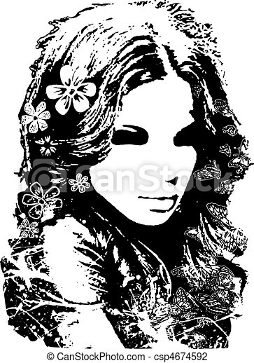 beautiful lady with flower decorati - csp4674592