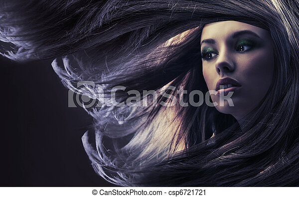 Beautiful lady with long brown hair, at moonlight - csp6721721