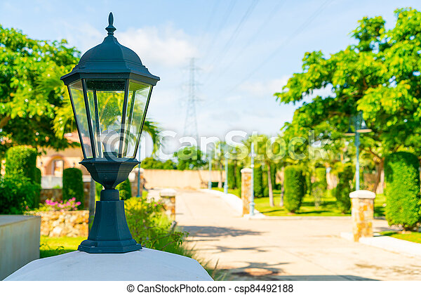 beautiful lamp on wall - csp84492188