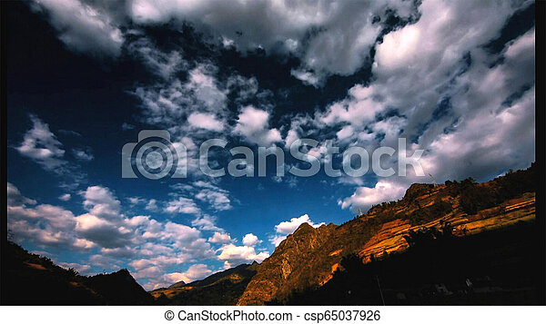 Beautiful landscape and blue sky in the mountains at sunrise. - csp65037926
