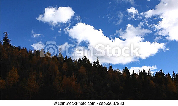 Beautiful landscape and blue sky in the mountains at sunrise. - csp65037933