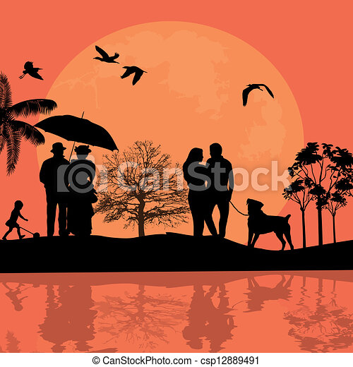 Beautiful landscape and people silhouette - csp12889491