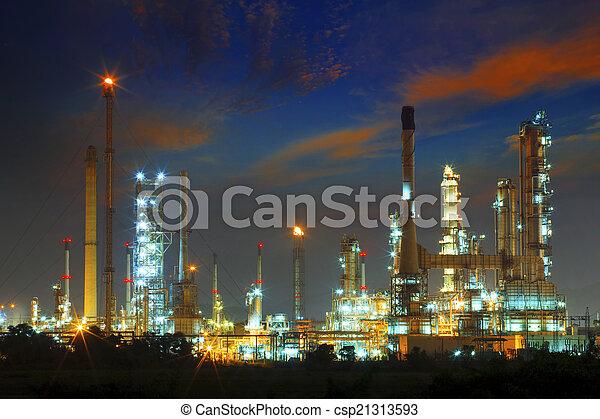 beautiful landscape dusky sky of heavy industry oil refinery pla - csp21313593