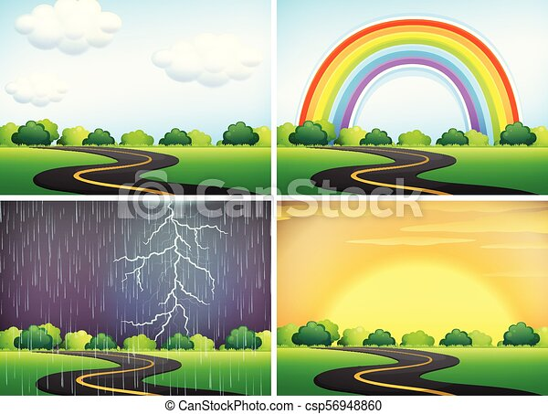 Beautiful Landscape in Different Weather - csp56948860