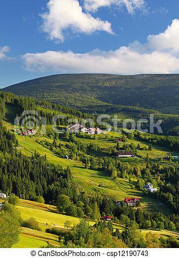 Beautiful landscape of a mountain relief of Krkonose - csp12190743