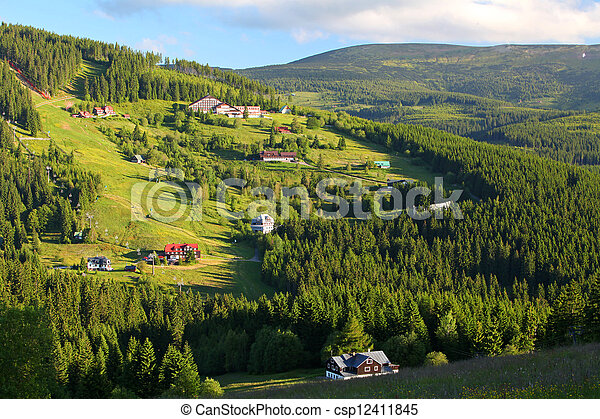 Beautiful landscape of a mountain relief of Krkonose - csp12411845