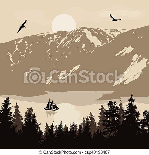 Beautiful landscape on mountains - csp40138487