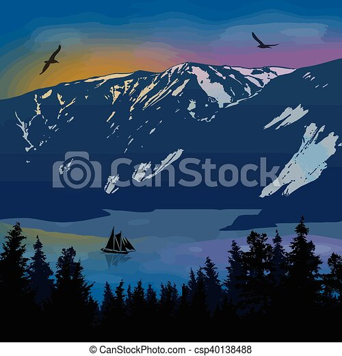 Beautiful landscape on mountains - csp40138488