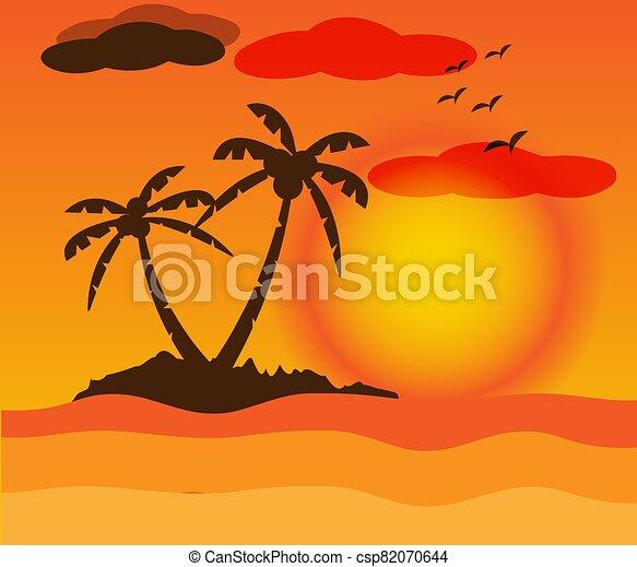 Beautiful Landscape on sunset - csp82070644