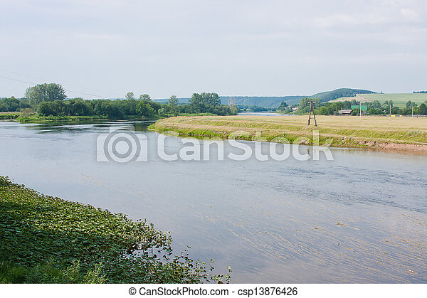beautiful landscape on the river - csp13876426