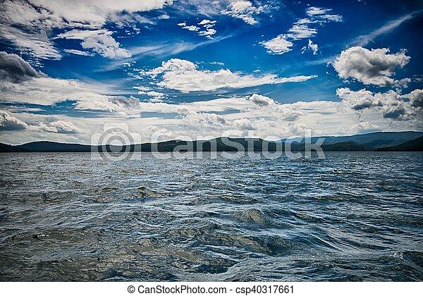 beautiful landscape scenes at lake jocassee south carolina - csp40317661