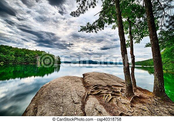 beautiful landscape scenes at lake jocassee south carolina - csp40318758
