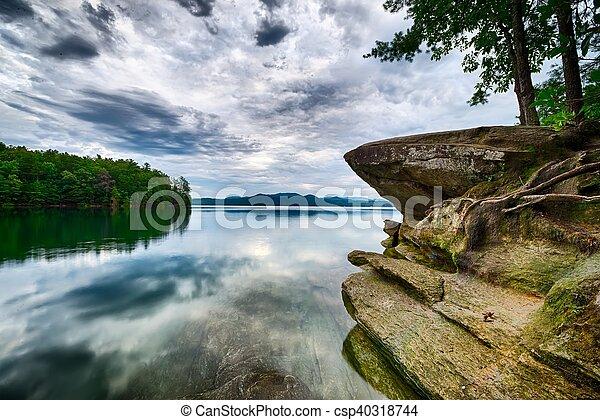 beautiful landscape scenes at lake jocassee south carolina - csp40318744