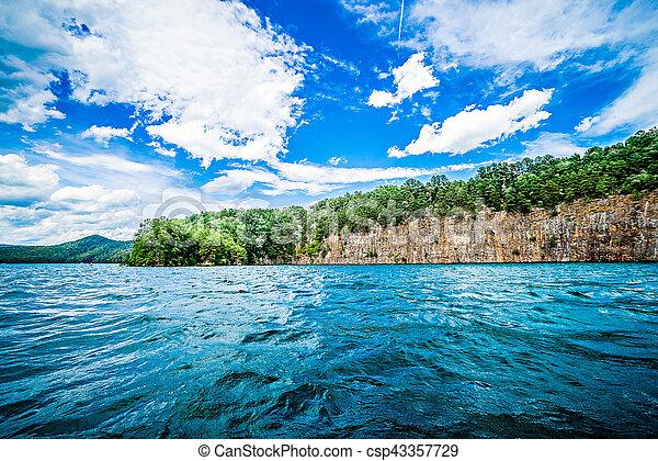 beautiful landscape scenes at lake jocassee south carolina - csp43357729