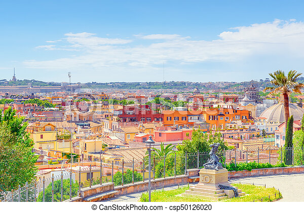 Beautiful landscape view of rome or his called eternal city from terrazza del pincio