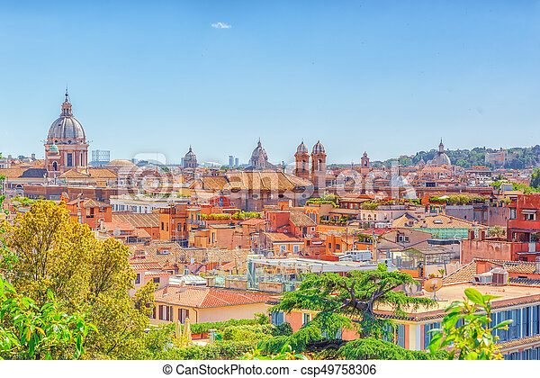 Beautiful Landscape View Of Rome Or His Called Eternal City From Terrazza Del Pincio Italy
