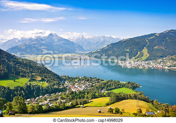 Beautiful landscape with Alps and Zeller See in Zell am See - csp14998029