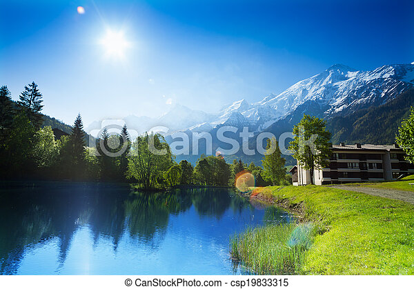 Beautiful landscape with lake in Chamonix, France - csp19833315