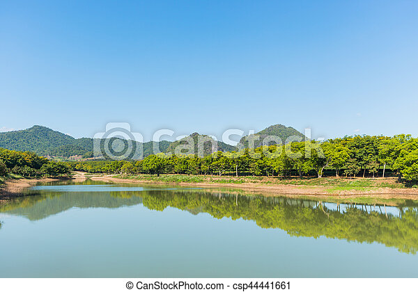 Beautiful landscape with lake - csp44441661