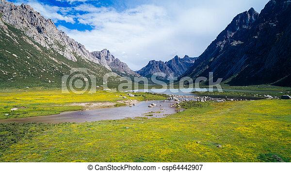 Beautiful landscape with lake - csp64442907