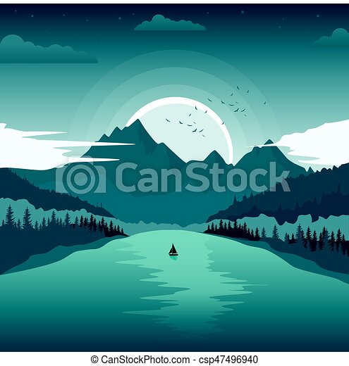 Beautiful landscape with mountain lake and fishing boat at dawn. Beautiful landscape with ...