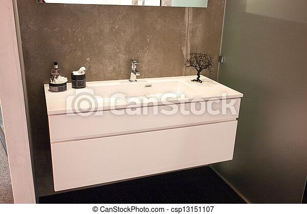 Beautiful Large Bathroom in Luxury New Home - csp13151107