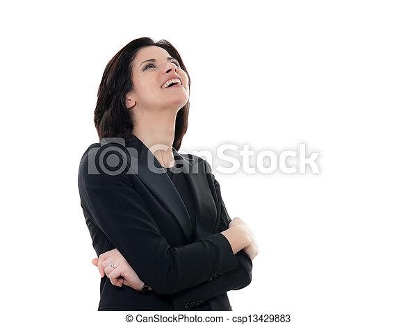 beautiful laughing caucasian woman portrait - csp13429883